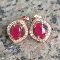 Samll moda rubi brincos 1ct 4mm * 6mm natural gemstone do rubi brincos sólido 925 prata rubi presente romântico para a mulher