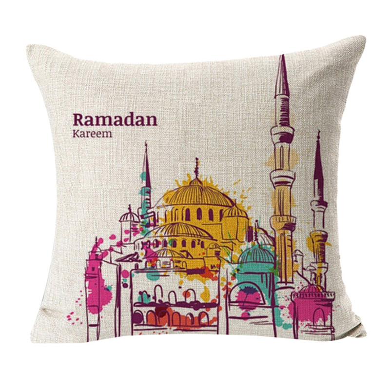 Image 3 - Ramadan Festival Linen Pillowcase Comfortable Sofa Cushion Set Home Decoration Cover Home Party Hotel Textile 45cm*45cm Hot 2019-in Cushion Cover from Home & Garden