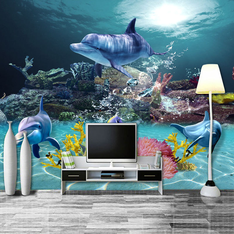 Custom Photo Wallpaper Mediterranean Style 3D Sea World Coral Dolphin Home Decor Wall Painting Living Room TV Backdrop Wallpaper