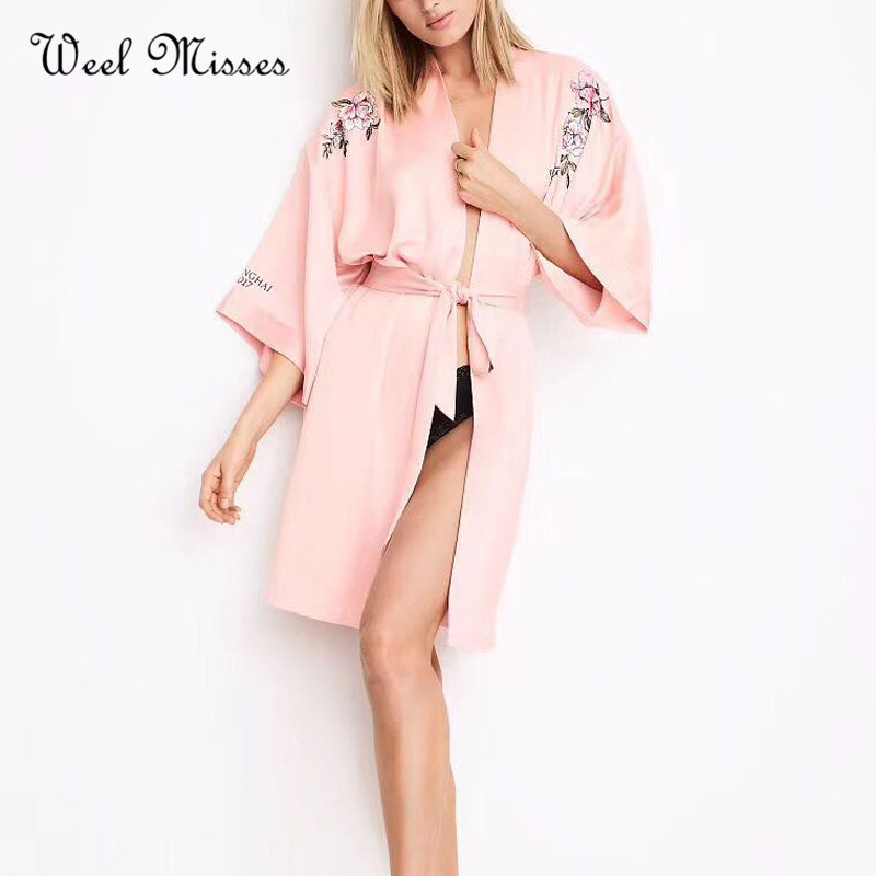 Luxury Brand New Arrival 2017 Women Fashion Floral Embroidery Robes Pink Black Solid Comfortable Homewear Bathrobes ...
