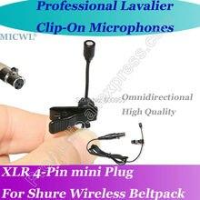 Pro MICWL OmniDirectivity Microfone Beige Lavalier Lapel Microphone for Shure Wireless Beltpack 4pin mini