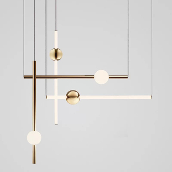 Postmodern horizontal vertical combination Nordic metal ball Pendant lamp for cafeteria exhibition hall line Acrylic LED light