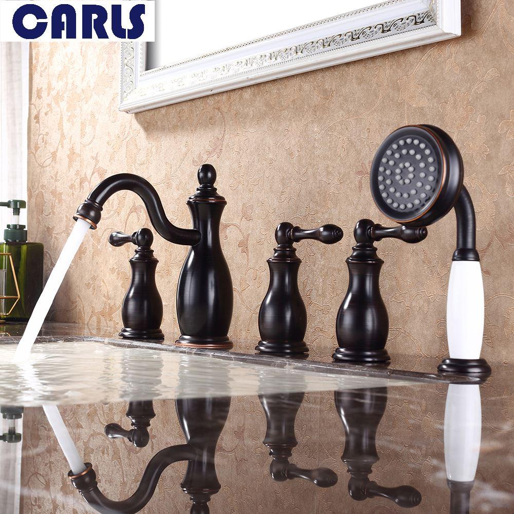 Nero antico Europeo diviso in cinque rubinetti calda e fredda di rame pieno rubinetto della vasca da bagno