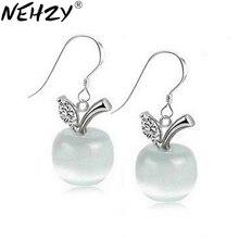NEHZY 925 Stamp Silver plated new woman jewelry opal earrings ear buckle models Apple fashion cute retro