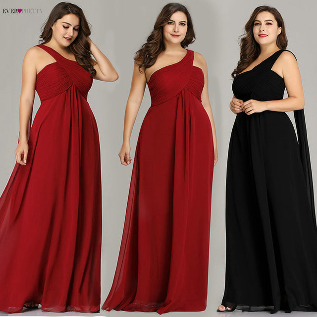 Plus Size Evening Dresses Ever Pretty EP09816 One Shoulder Ruffles Special  Occasion Weddings Guest Party Gowns Robe De Soiree