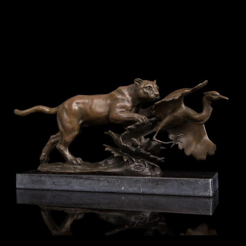 Artisanat cuivre bronze animaux statues léopard chasse oiseau proie sculptures cire perdue méthode laiton figurines
