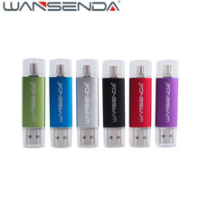 50PCS WANSENDA OTG Android USB Flash Drive Usb 2.0 Pen Drive 128gb 64gb 32gb 16g 8g Pendrive Memory Stick External Storage