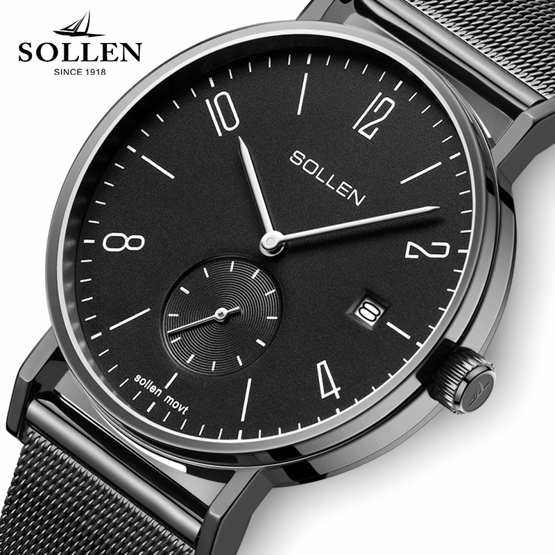 New Luxury SOLLEN Brand Relogio Simple Fashion Men Watches Black Style Business Quartz Watch Clock Milanian Strap with Gift Box new listing men watch luxury brand watches quartz clock fashion leather belts watch cheap sports wristwatch relogio male gift