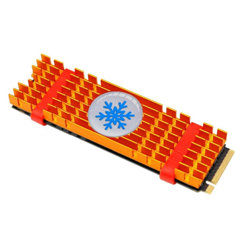 Aluminium Alloy PCIe NVMe M.2 2280 SSD Heatsinks Radiator M2 Ssd Drive Laptop PC Memory Cooling Fan Gold