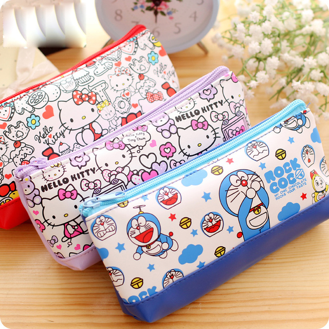 43ccbbcd7d Korean stationery Kawaii Hello kitty pencil case for girls Cute Doraemon PU  leather pencil pouch pen