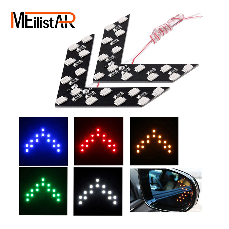 2X New Car styling 2PCS 14 SMD LED Arrow Panels Light Car Side Mirror Turning Signal Indicator Light Car LED External Parking
