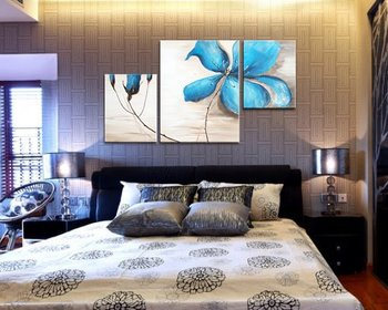 Modern Abstract Art Cherish Art Free Shipping Hand Painted Oil Painting Blue Flowers 3 Panels Wall Art For HomeDecoration