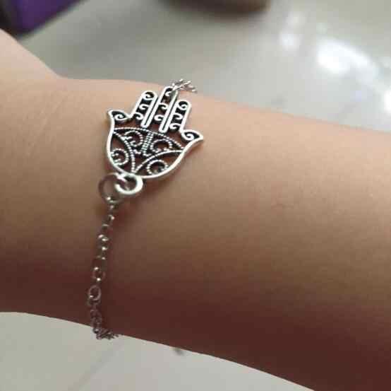La074 2018 горячая Распродажа готический панк новый серебряный браслет цепочка простые ручные пальмовые браслеты женский Шарм ювелирные изделия
