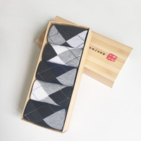 5 Pairs Box Solid Cotton Men Socks Sale With Gift Box Casual Prism Dot Pattern Autumn