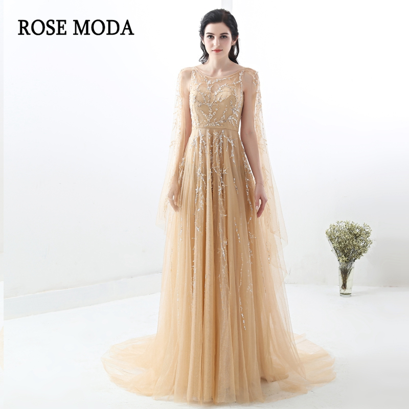 Rose Moda Prom Dresses Long with Beadings 2018 Sexy Champagne Prom Dress with Cape Real Photos