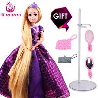 UCanaan 30 CM Dolce Principessa Dolls Rapunzel Giocattoli Per Le Ragazze Comune Corpo in movimento Bellezza Spessa Piena Lunghi Capelli Biondi Bambola Per bambini