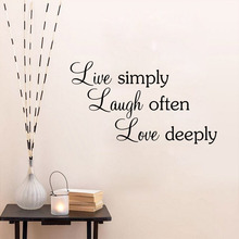 Free Shipping Quotes Wall Stickers Live simply laugh often love deeply Home Decoration sayings decals BB-2