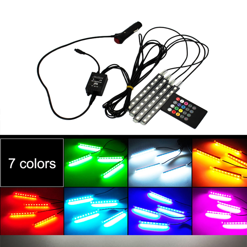 LEADTOPS 4x 3LED Car Charge 12V Glow Interior Decorative 4in1 Atmosphere Blue Light Lamp Atmosphere Inside Foot Lamp BE wholesale price 4 x 3 led car accessory glow interior decorative atmosphere light lamp 12v purple orange
