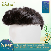 Hot Sale Men Short Handsome Black Wig Men's Head Replacement Block Closure High Quality Hair Extension Three Sizes