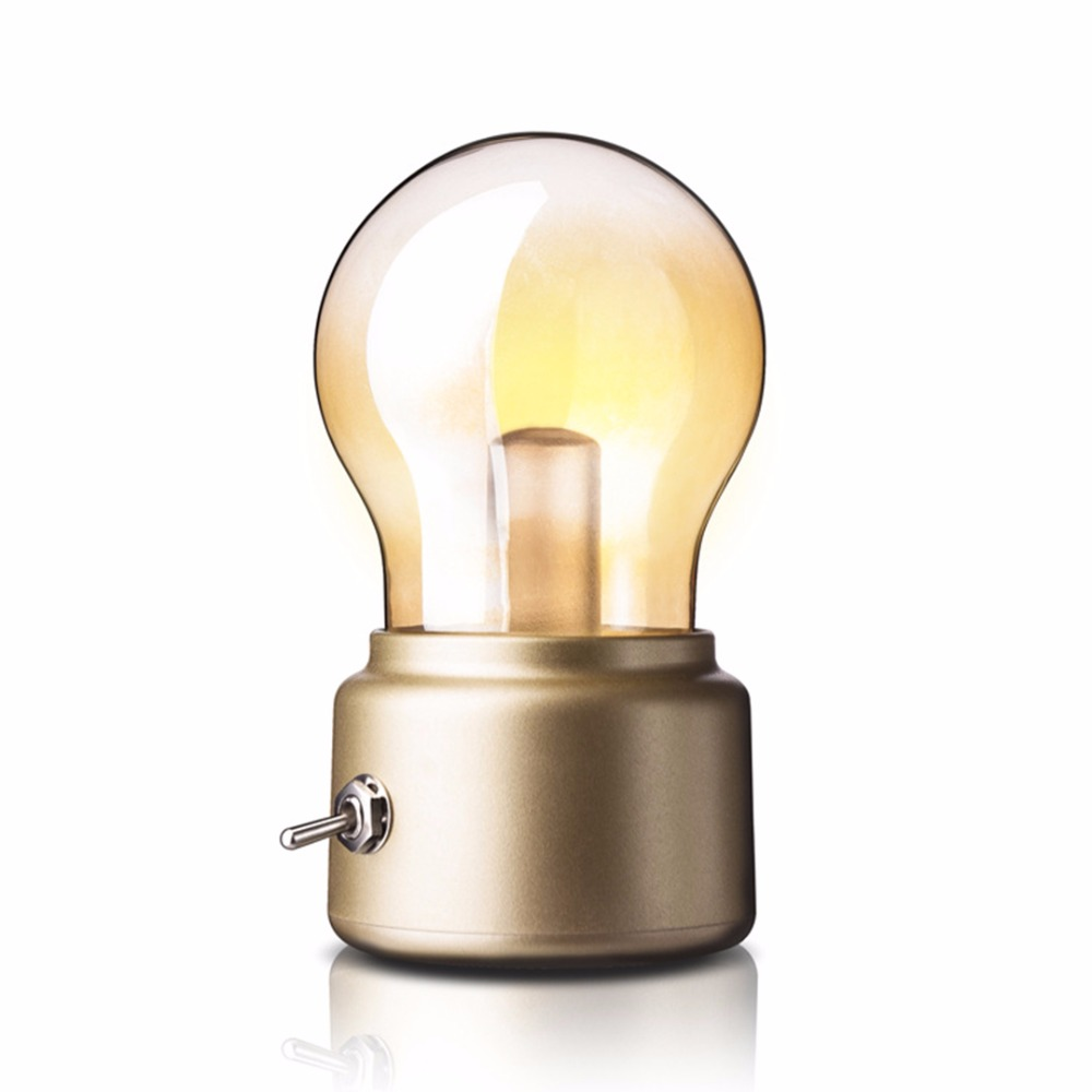 Led Night Light Bulb Lamp USB Rechargeable Nightlight Desk Lamp Highlight Retro ABS+ Glass Material With Lever Long Lifespans LL