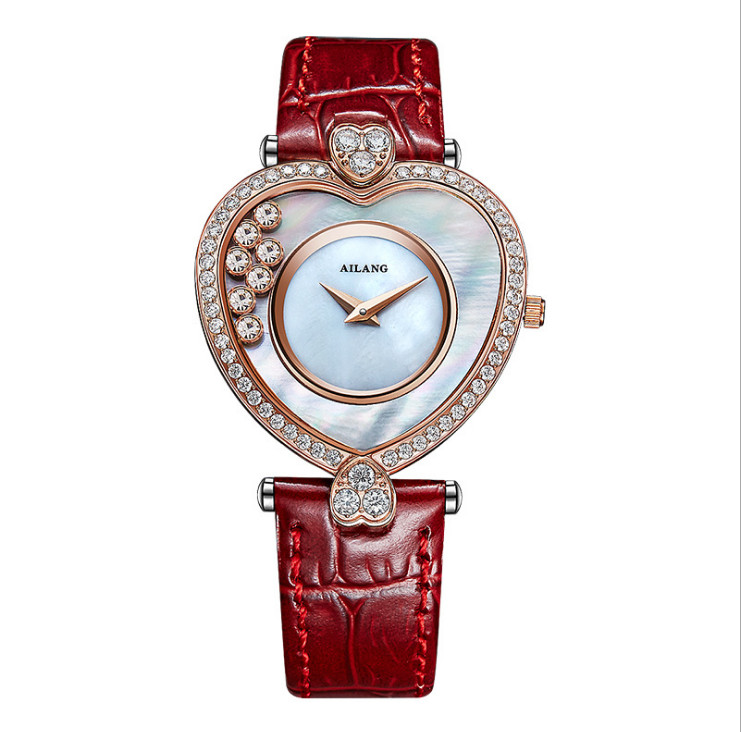 Sweet Heart Gift Watches for Girl Friend Women Party Dress Watches Fashion Moving Crystals Wrist watch Leather Shell Reloj W049Sweet Heart Gift Watches for Girl Friend Women Party Dress Watches Fashion Moving Crystals Wrist watch Leather Shell Reloj W049