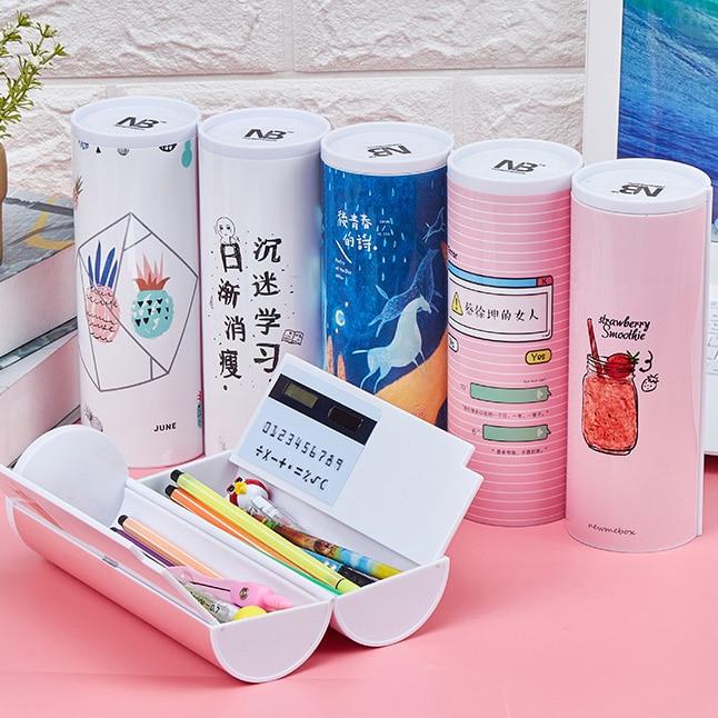 2019 NEW Creative Whiteboard Pencil Case With Solar Calculator Magnetic Switch Kawai Cartoon Pen Box School Writing case etui