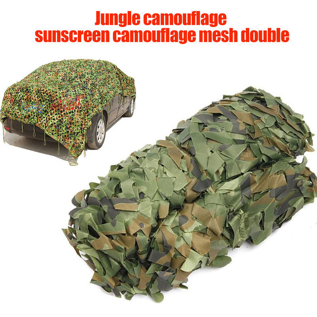 2mx3m Car Shade Cover Tent Woodland Jungle Leaves Military Camouflage Netting for Hunting Camping With Hang Rope Sun Shelter