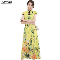 YAGENZ Summer Dress 2017 Fashion New Women Chinese Wind Vintage Printing Long Dress Slim Elegant Large size Classic Dress Women