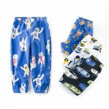 Из хлопка для мальчиков и девочек флисовая Пижама мультфильм для малышей пижамы детская одежда Пижама для детей одежда для отдыха осень Штаны