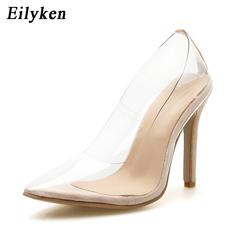 Eilyken Sexy PVC Clear Women Pumps Pointed Toe Slip On Transparent Bride Women Stiletto High Heel Pump 12CM Shoes Woman