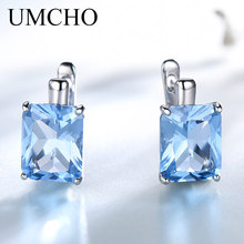 UMCHO Solid 925 Sterling Silver Earrings Luxury Rectangle Created Sky Blue Topaz Clip For Women Gift Fine Jewelry
