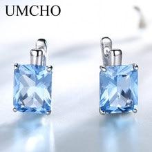 UMCHO Solid 925 Sterling Silver Earrings Luxury Rectangle Created Sky Blue Topaz Clip Earrings For Women Gift Fine Jewelry