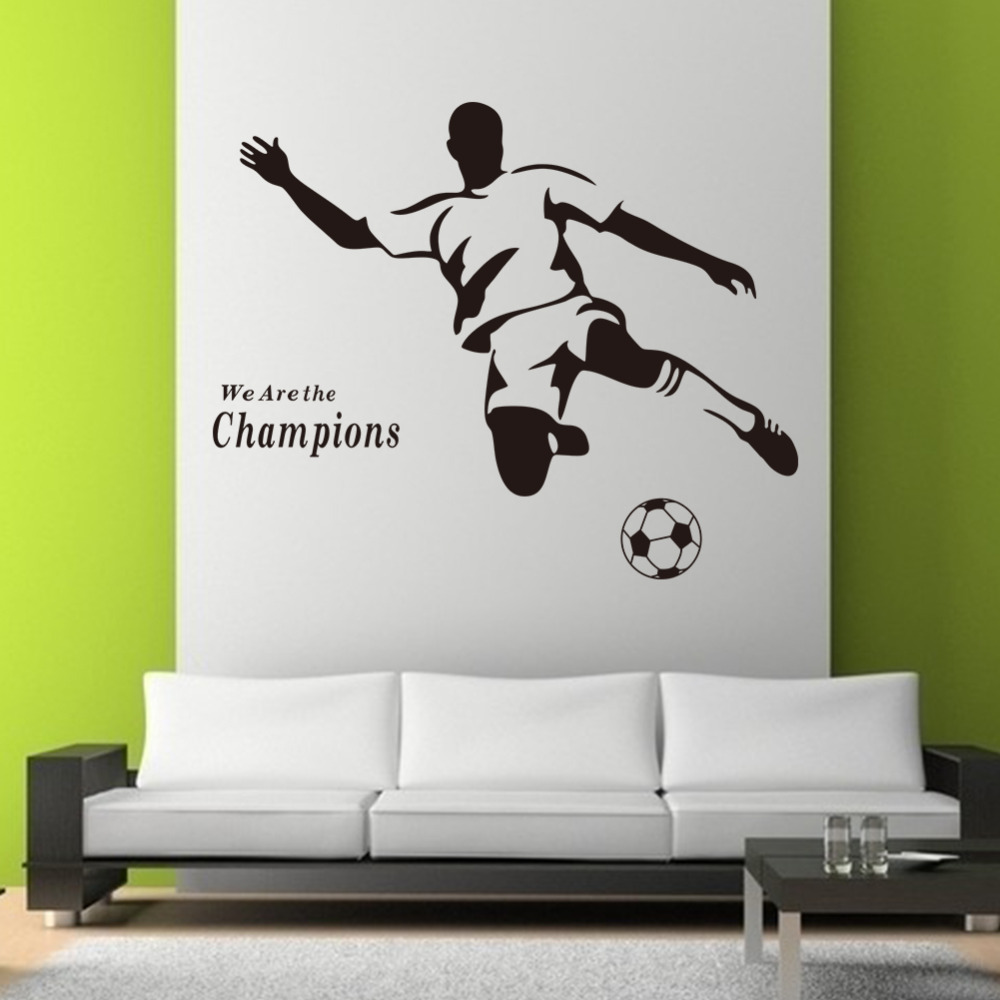 Hot Sale Champions Football Carved The Living Room Sofa Removable Paster Of Wall Waterpr ...