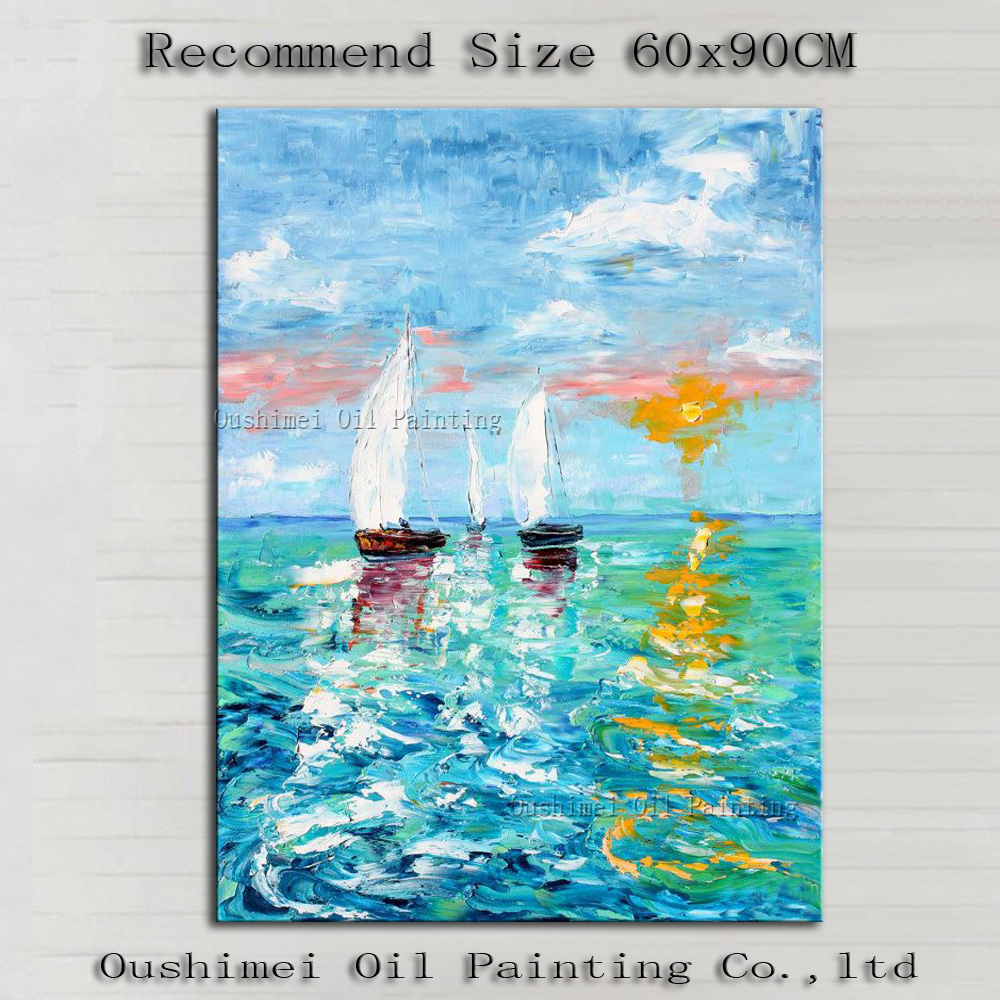 Wholesale High Quality Abstract <font><b>Knife</b></font> Painting On Canvas Hand-painted Abstract Seascape and <font><b>Boating</b></font> Oil Painting Decorative image