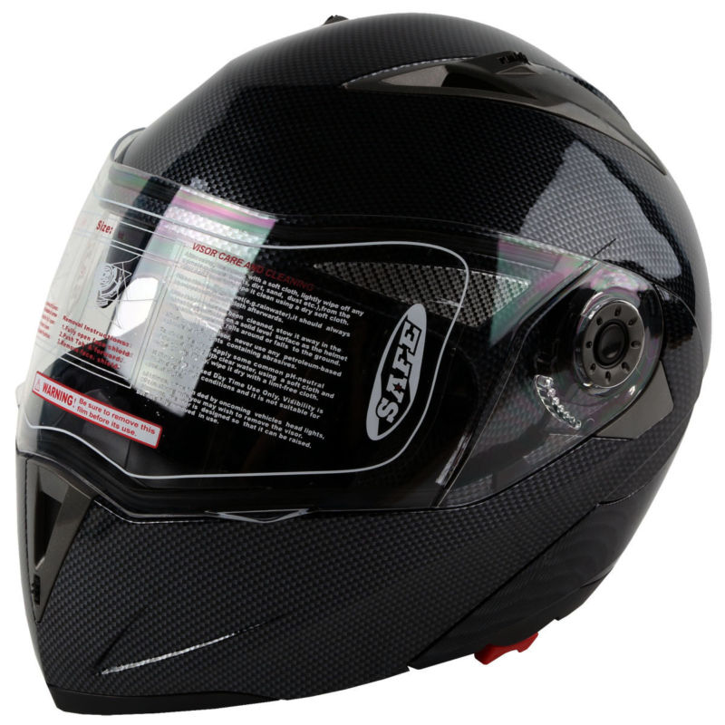 GHL Motocicleta Cara Completa Casco Voltear Adulto Adecuado Un Tama/ño,Black