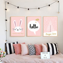 Cartoon Rabbit Canvas Poster Animals Baby Wall Art Painting Nordic Kids Room Pictures Pink Prints for Girls Unframed