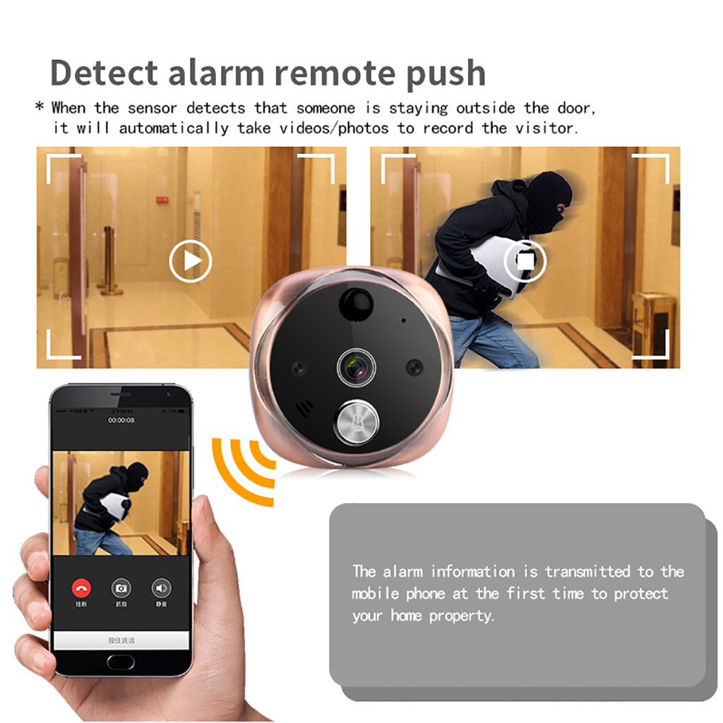 5 Inch Doorbell Viewer Digital Door Peephole Viewer Camera Wireless Wifi Video Doorbell IR Night Vision Motion Sensor
