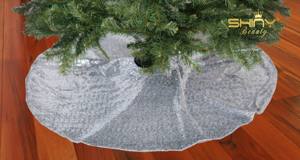 new year holiday xmas silver sequin tree skrit christmas tree skirt 48inch round christmas tree skirt - Silver Christmas Tree Skirt