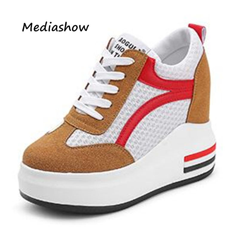 2018 spring summer high quality fashion women casual shoes Mesh leather breathable wedges platform shoes woman