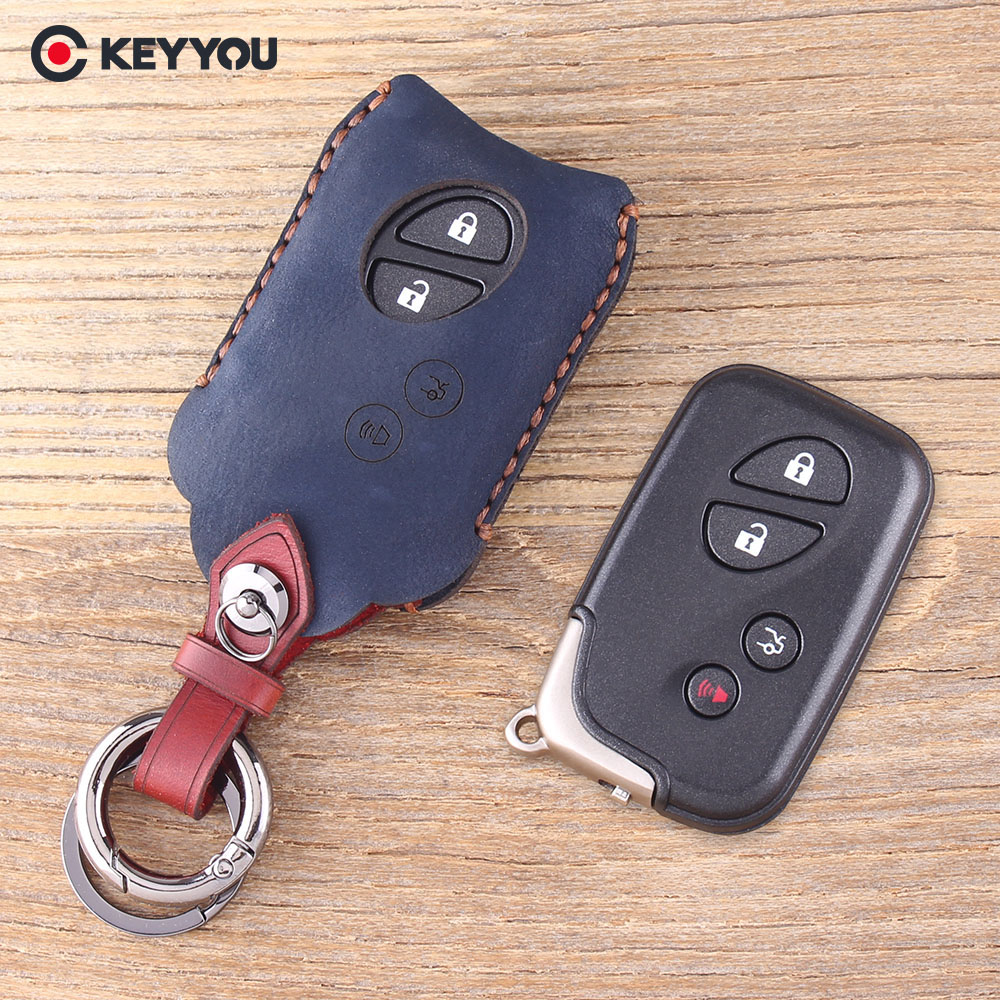 KEYYOU Genuine Leather Key Shell 4 Buttons Key Case Fob Case For <font><b>Lexus</b></font> GS430 ES350 GS350 LX570 IS350 <font><b>RX350</b></font> IS250 image