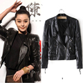 Faux Leather Jacket Jaqueta de couro feminina 2016 Brand Spring Women PU Rivet Zipper Motorcycle Short Coat Chaqueta cuero mujer