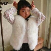 Детская натуральным лисьим Мех животных жилет Обувь Для Девочек Fox Kids Мех животных пальто осень зима Fox Baby Мех животных жилет пальто Одежда д