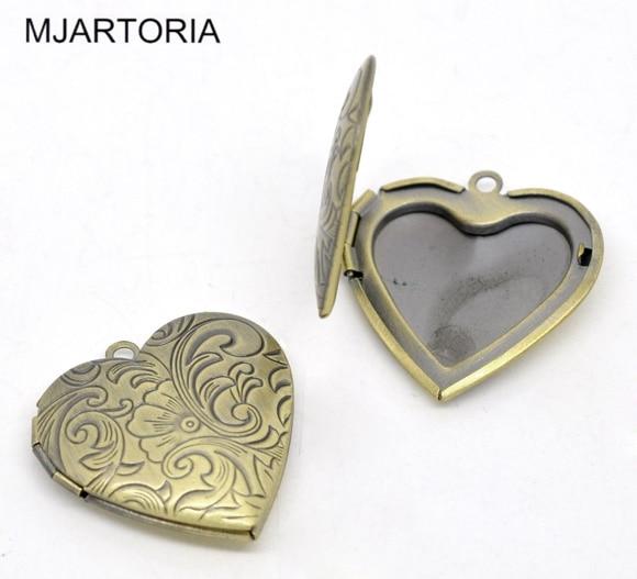 Hot Sale New 5 Bronze Tone Photo Frame Setting Heart Locket Pendants ...