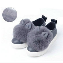 New Children Rabbit Fluffy fur sneakers Girls Flat Shoes Fashion Baby Girls Winter Warm Shoes for Children Sneakers Kids Shoes
