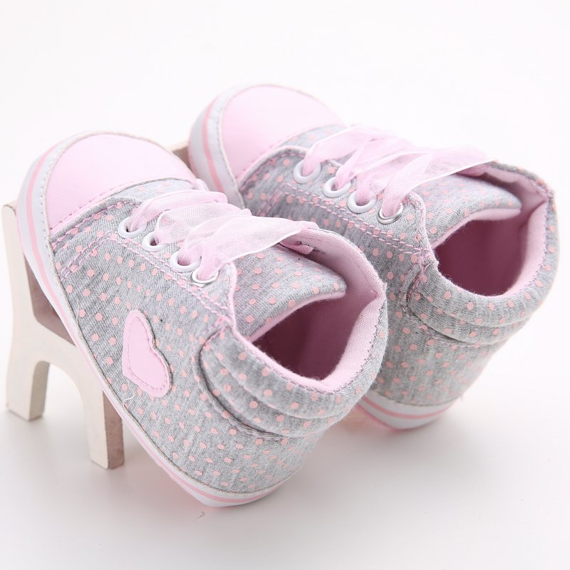 gray and pink baby and toddler first walker shoes with heart