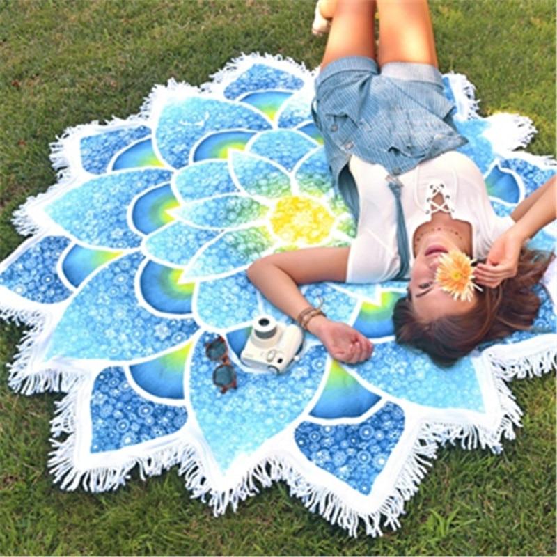 Beach Towel Hashtags: Floral-Shape Mandala Tassled Beach Towel