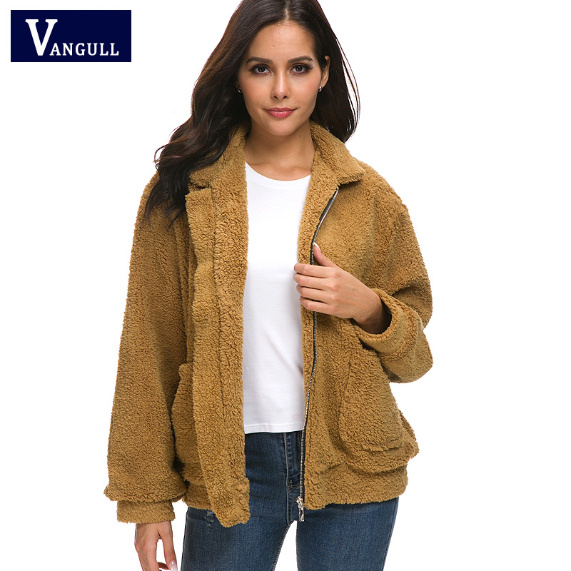 Vangull Faux Pelz Warme Winter Mantel Plus Größe S-2XL Frauen Mode Flauschigen Shaggy Strickjacke Bomber Jacke Dame Mäntel Zipper Outwear