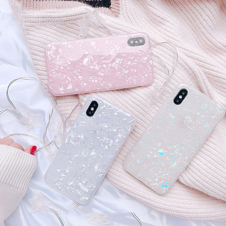 marble Phone Case For Samsung Galaxy S10 S10plus S9 S8 plus Dream Shell Pattern Cases Soft TPU Silicone for Samsung S9plus coque image