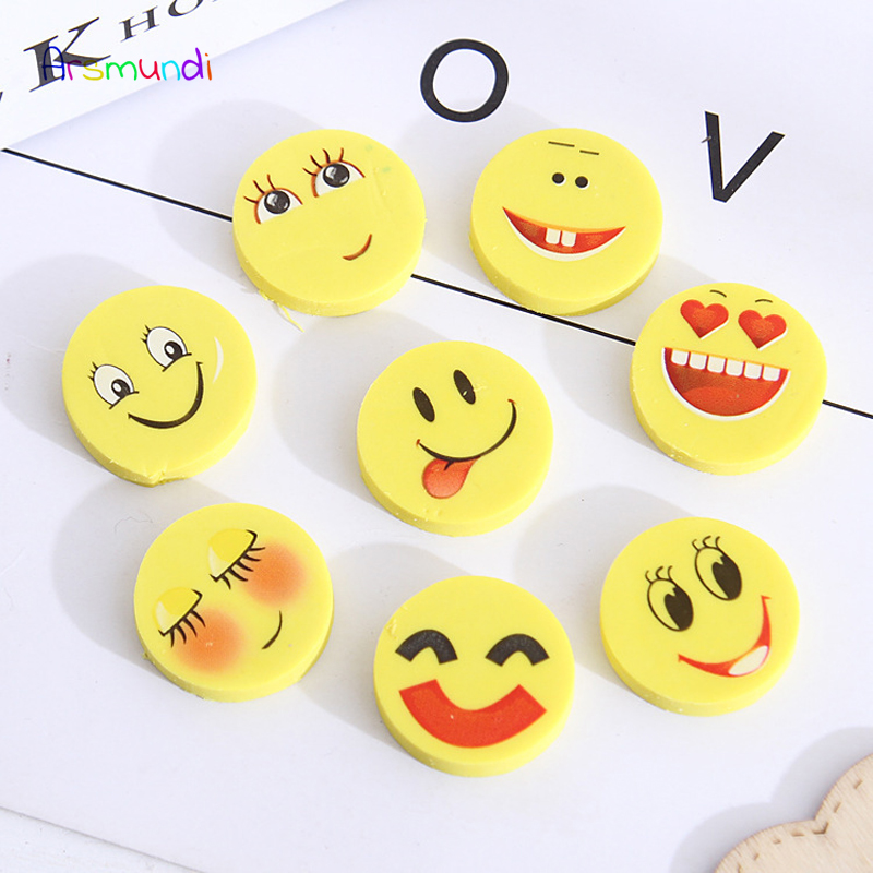 4 Pcs/Set Kawaii Emoji Pencil Eraser Creative Cartoon Funny Expression Rubber Pencil Erasers Children Learning Stationery Gift