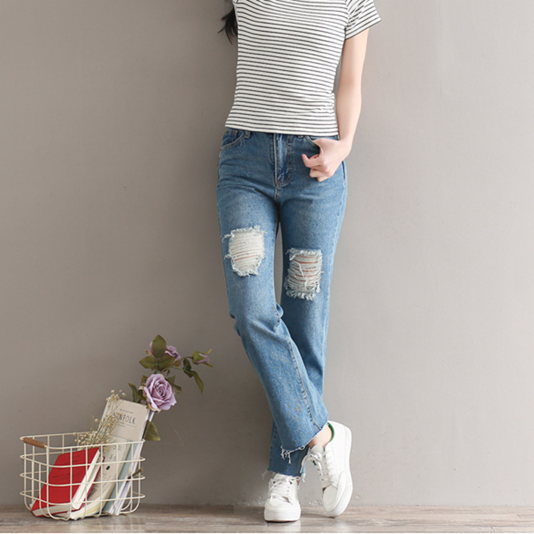 Summer Women New Loose Button Jeans 2017 Female Slim type High Quality Large size Denim Trousers